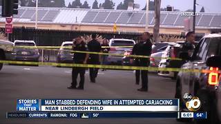 Man stabbed defending wife during attempted carjacking - Video