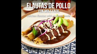 Chicken Flutes with Easy Mole