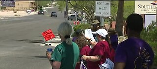 Union members protest working conditions
