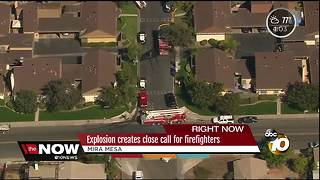 Explosion creates close call for firefighters - Video
