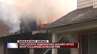 Five Detroit firefighters hurt after roof collapses