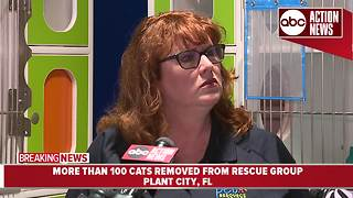 More than 200 cats removed from rescue group| News conference - Video