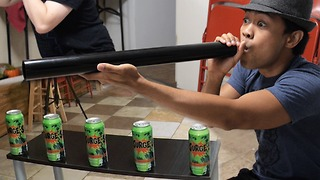 Exciting ping pong blowgun challenge game - Video