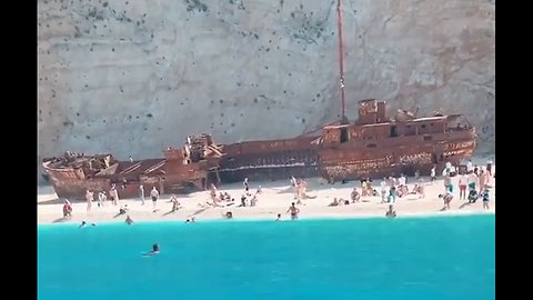 This beach is one of a kind! 🚢 🇬🇷 ☀️