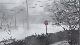 Time-lapse of Boston blizzard as massive winter storm brings snow - Video