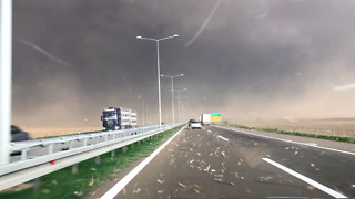 Scary Storm Surprises Drivers On Serbian Highway - Video