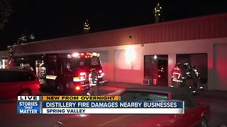 Distillery fire damages nearby businesses - Video