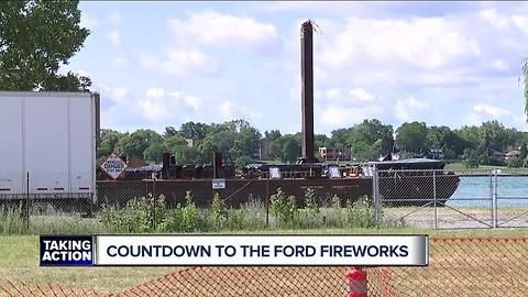 Preperations for Ford Fireworks show