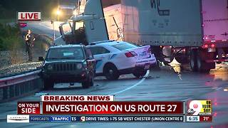 US Route 27 closed in Alexandria after police chase ends in crash involving police cruiser - Video