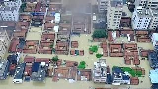 Drone footage shows Chinese city submerged by flood waters