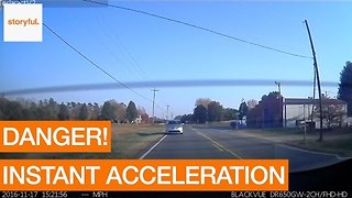 Tesla Rapid Acceleration Saves Driver From Speeding Threat - Video