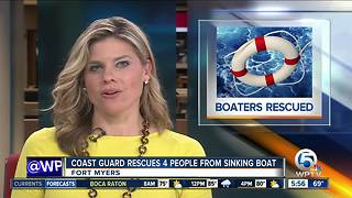 Coast Guard rescues 4 people from sinking boat off Sanibel Island - Video