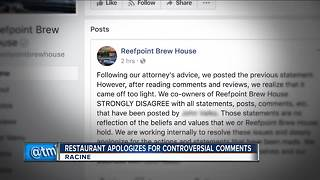 Racine restaurant owner apologizes for controversial Facebook post - Video