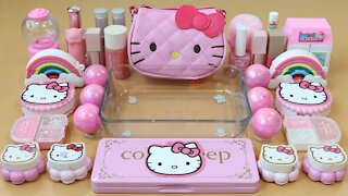 """Mixing""""PinkKitty"""" Eyeshadow and Makeup,parts,glitter Into Slime!Satisfying Slime Video!★ASMR★"""
