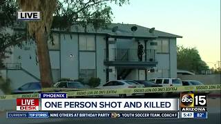 One person shot in killed at Phoenix apartment complex - Video