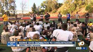 Pro Treatment: Marine gives inspiration to Serra HS Conquistadors - Video