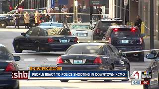 People react to police shooting in downtown KCMO - Video