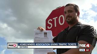 Man says homeowner's association is giving traffic citations - Video