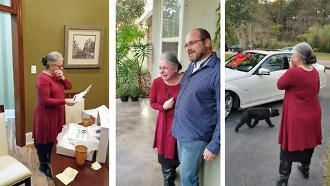 Adorable moment hard-working grandmother nearly faints after being surprised with 'car of her dreams' thanks to brother, after caring relentlessly for their ill mother