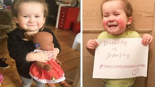 Deaf three year old receives doll with hearing aids in adorable video clip