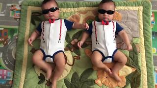 """Twin Baby Boys Dance With Sunglasses On"""