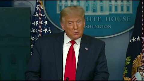 President Donald Trump holds a press conference at the White House on Thursday.