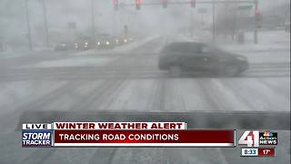 Snow causes slippery roads for motorists - Video