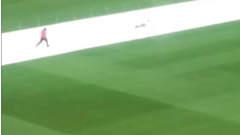 Pitch Invader Slides on Covers at New Zealand Test Match