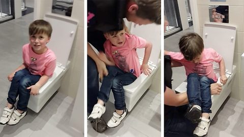 Unruly' boy, 6, gets stuck in showroom display toilet – While 'giggling' mum films him