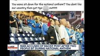Business facing backlash over social media post using N word about two sitting during anthem - Video