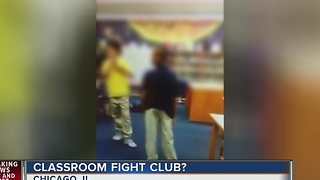 Chicago school employee encourages students to fight - Video