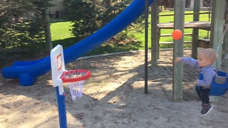 Toddler is already a trick shot master! - Video