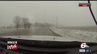 Out on the roads during the spring snow - Video