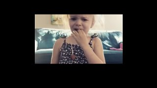 Crying Girl's Missing Lollipop Was Right Under Her Nose All Along - Literally