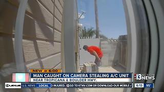 Man caught on camera stealing a/c unit - Video