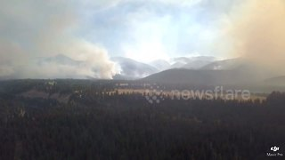 Aerial views of huge fire in Montana - Video