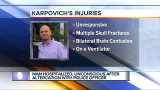 Man hospitalized, unconscious after altercation with police officer - Video