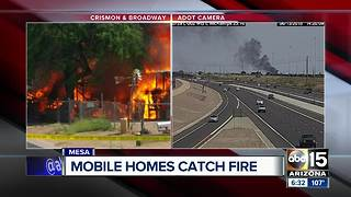 Two mobile homes destroyed in massive Mesa fire - Video