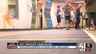 Indoor Triathlon underway at Jewish Community Center