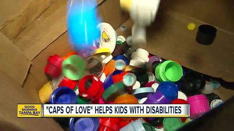 Saint Leo University students recycle boxes of bottle caps to help kids with disabilities
