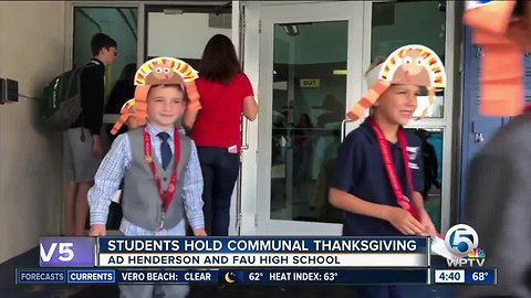 Students hold communal Thanksgiving at AD Henderson and FAU High School