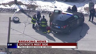 Police chase ends in crash on Detroit's west side