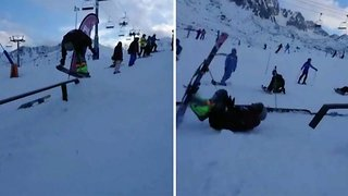 Beginner skier loses skis after epic front flip fail
