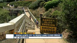 City says warning to stay off La Jolla-area bridge being ignored, urges public to stay off on July 4 - Video