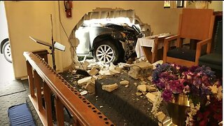 No injuries reported after car crashes into church