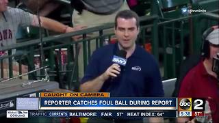 Reporter catches baseball during live report - Video