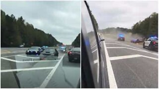 Mustang capsizes during police chase