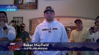 Baker Mayfield appears on Jimmy Kimmel Live after being selected by the Browns - Video