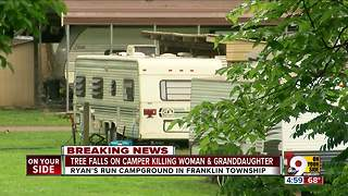 Toddler, grandmother killed when tree falls on camper - Video