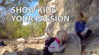 Outdoorsy Family Teaches Their Two-Year-Old to Rock Climb - Video